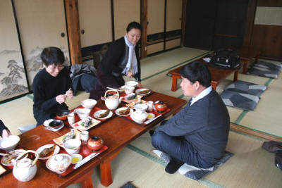 Dining in the traditional Japanese-fashion, on the floor at the inn.